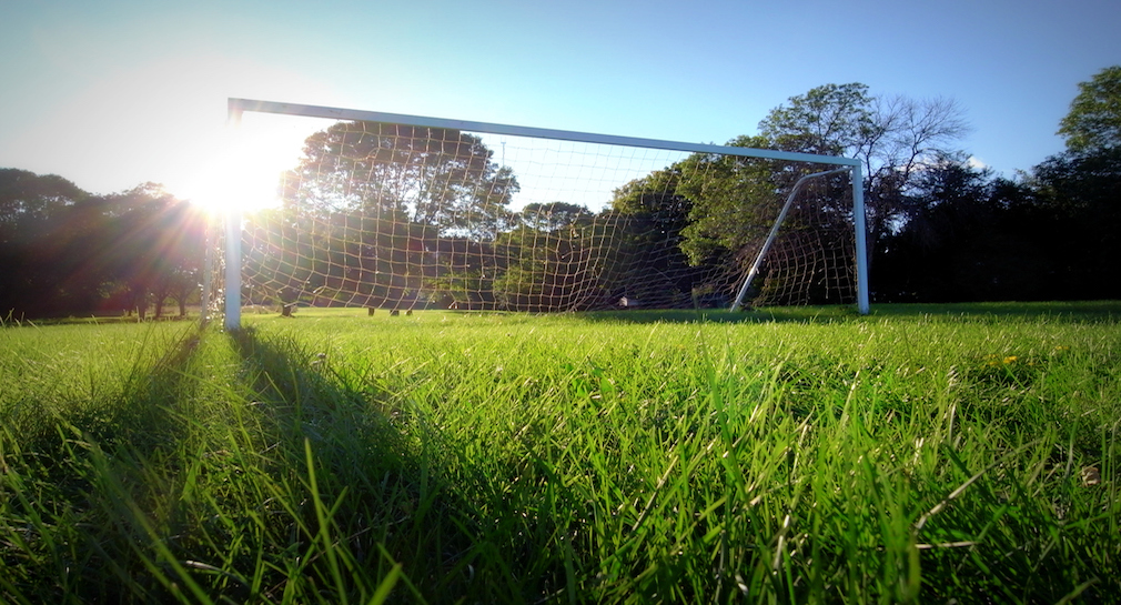 Soccer goal on an green field