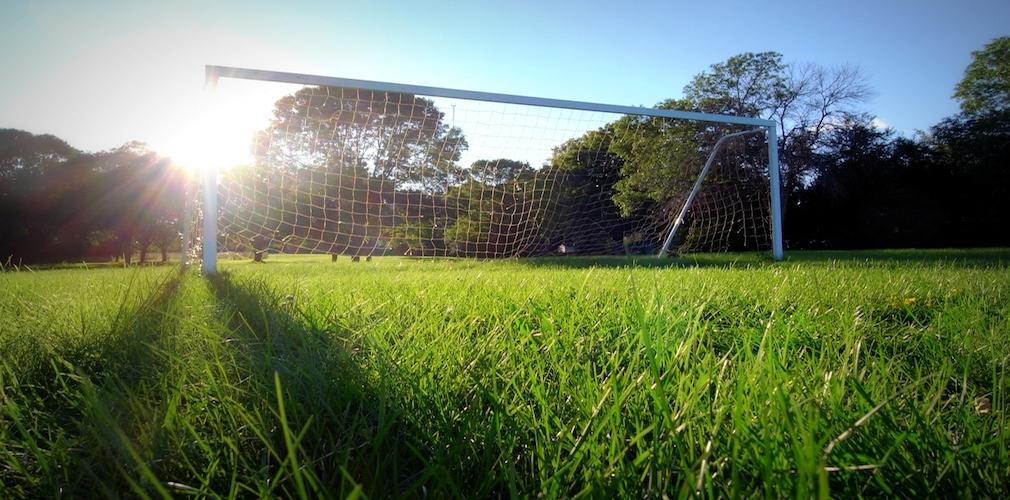 Soccer goal on an green field